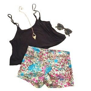 7 For All Mankind Floral Denim Shorts 
