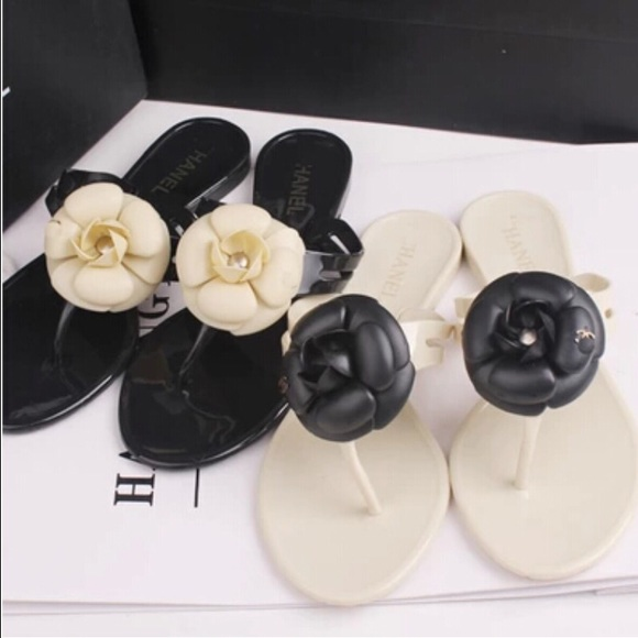 8bf50870890 Chanel Camellia Flower Jelly Sandals