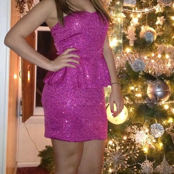 88% off As U Wish Dresses Hot Pink Sequin Sweetheart Peplum Formal ...