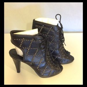 New Kelsi Dagger Black Studded Open Bootie