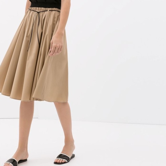Zara - Zara mid-length A-line skirt in beige from Verena's closet ...