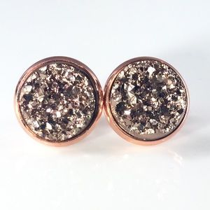 thejeweladict Jewelry - 3 for 15🎀 Drusy style rose gold chunky studs