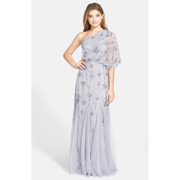 c8cafef7f38 Adrianna Papell Beaded One Shoulder Blouson Gown