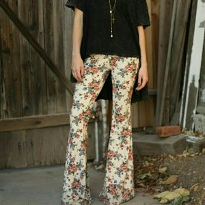 Brandy Melville Floral bell bottoms