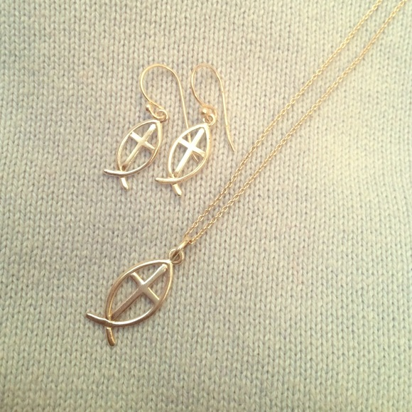 Jesus fish earring and necklace set os from alyssa 39 s for Jesus fish necklace