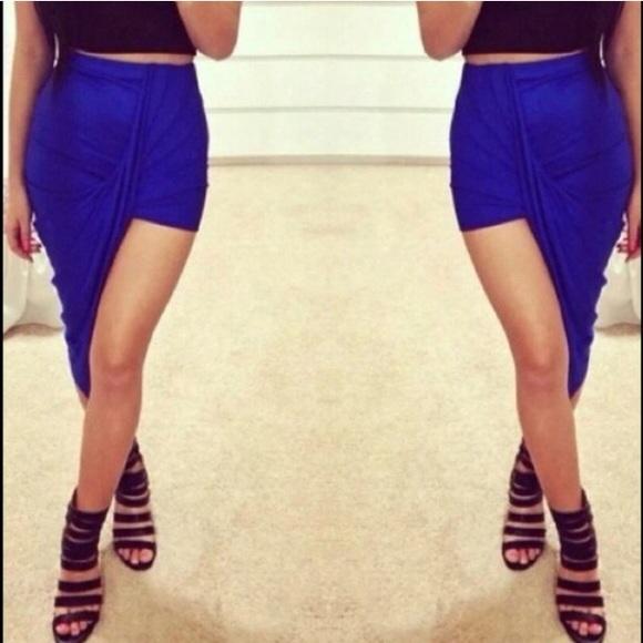 66 dresses skirts new royal blue asymmetrical