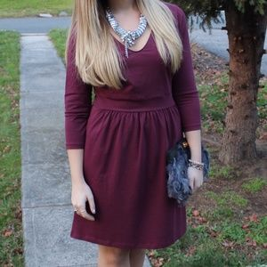 mark. Dresses & Skirts - Wine Colored 3/4 Sleeve Cotton Dress