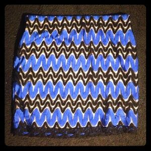 Twill patterned Electric blue & black skirt