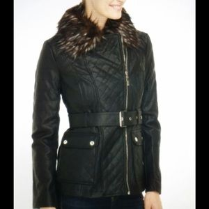 Kensie faux leather black belted jacket,size S