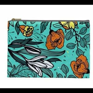 Handbags - NWT Floral Teal Zippered Pouch Bag