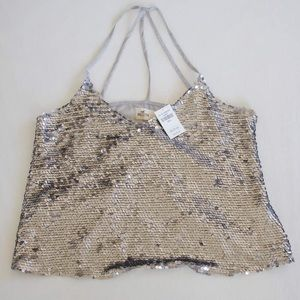 🚫SOLD🚫 Hollister silver sequin cami