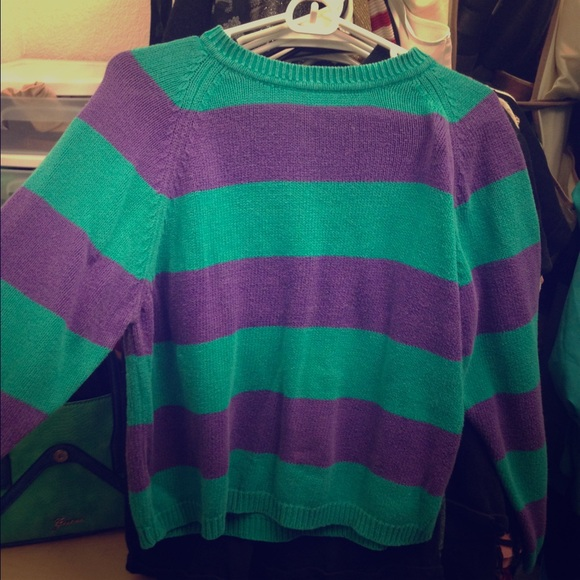 38% off Sweaters - Green and purple striped sweater from Katelyn's ...
