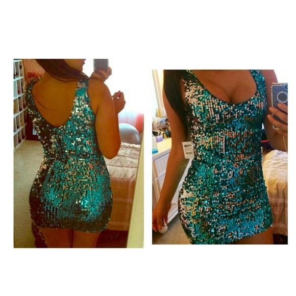 9c0af46438b1 Charlotte Russe Dresses | Sequin Blue Green Dress | Poshmark
