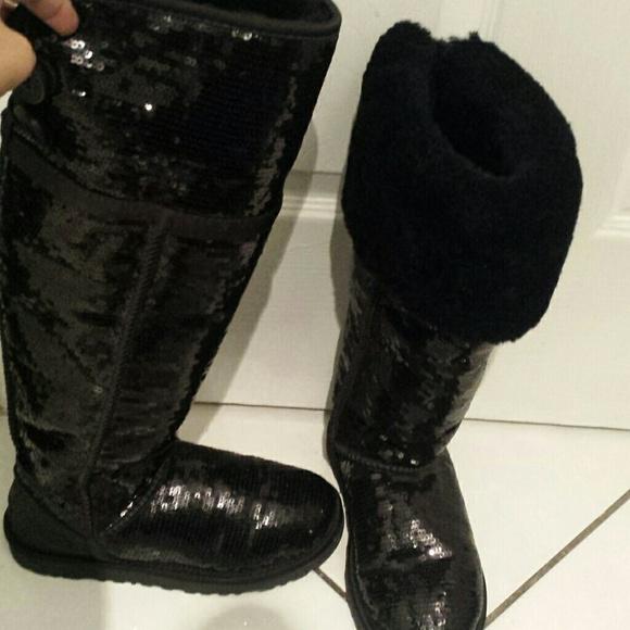 knee high black sparkle ugg boots