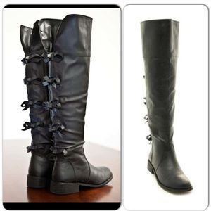 Shoes - ⭐️LAST 5.5!⭐️Over the Knee NIB Black Bow  Boots
