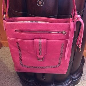 Lucky Brand distressed red leather crossbody