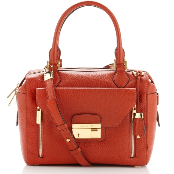 79f07701cefa Michael Kors Collection Gia Satchel in Tangerine. M 5a235da9c28456f0c705a7cd