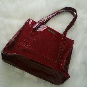 Red Patton Leather Liz Claiborne Purse