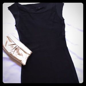 Black French Connection boat neck bandage dress