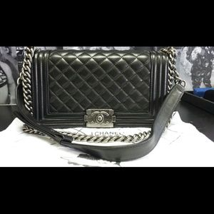 Authentic CHANEL Le Boy Metallic Clutch