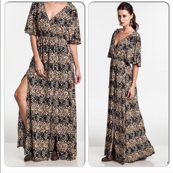 42% off Umgee Dresses & Skirts - Boho Slit Kimono Sleeve Maxi ...