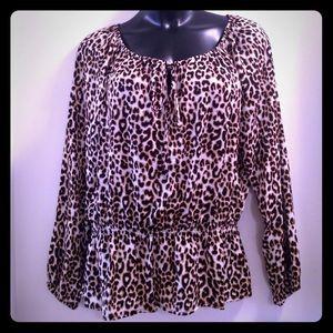 Ellen Tracy Tops - Ellen Tracy Animal print blouse open shoulder top