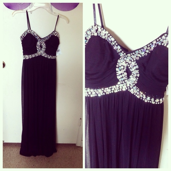 Jcpenney Dresses Black Keyhole Bling Long Prom Dress Poshmark