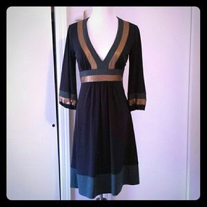Laundry navy dress with green and gold.