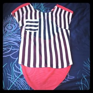 Tops - Black & white striped front, coral back.