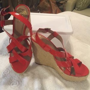 Vince Camuto coral patent leather espadrilles.