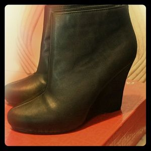 "Black ""Leather/Suede"" Wedge Bootie"