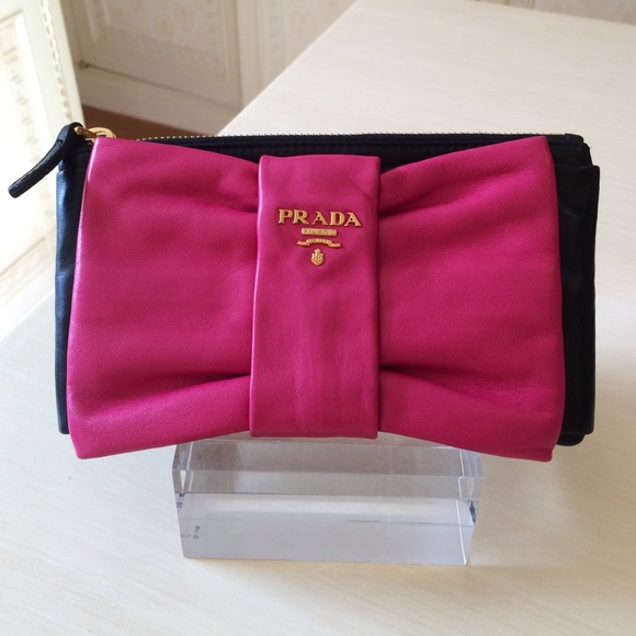 bd55ed941425 Prada Nappa Leather Black & Pink Bow Clutch Bag. M_55205915d14d7b5a3c003632