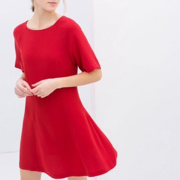 fc97a347e24e Zara Red Flared Dress SZ M