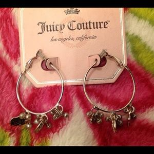 Juicy Couture Silver Hoop Earrings with Charms New