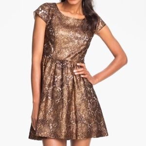 Kensie bronze gold lace foil metallic dress
