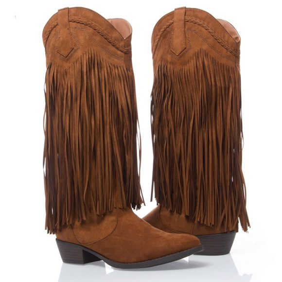 47% off Qupid Boots - NIB Qupid cowboy western fringe boot size ...