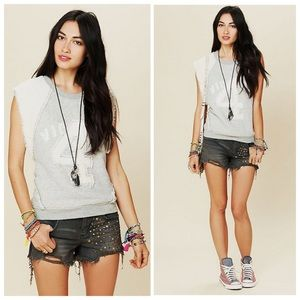 Free People Denim - Free People Gray Studded Denim Cutoff Shorts