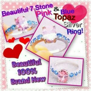 Unknown Jewelry - Ladies Classic Pink & Blue &White Topaz Ring