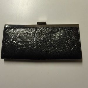 Grayish black faux snake skin clutch