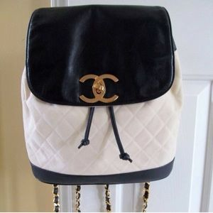 Authentic Chanel Vintage Canvas Leather Backpack