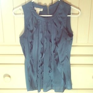 Kenar Tops - Slate Blue Ruffle Tank Top