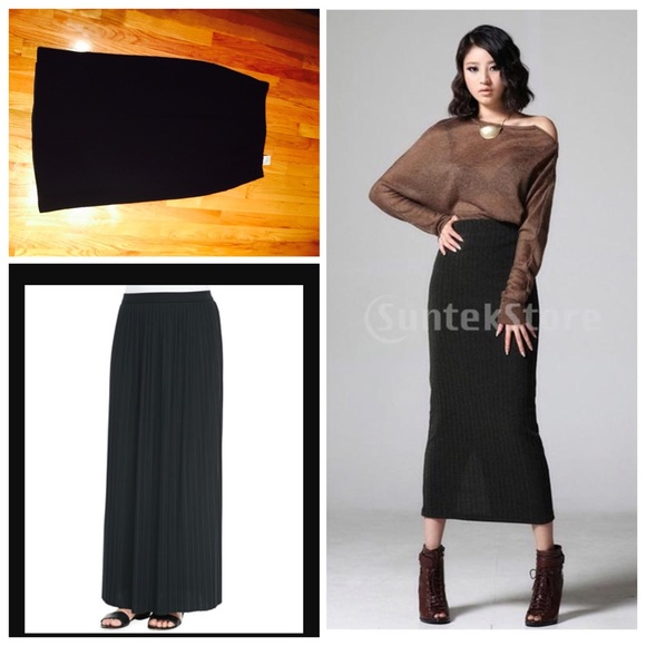 Joan & David - Italian Black long midi skirt Lana Wool from ...