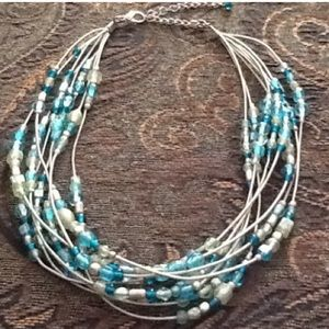 Teal blue green layered necklace