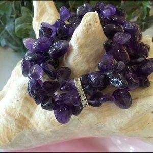 Jewelry - 🎉2xHP🎉NWOT Natural Amethyst 3 Strand Bracelet