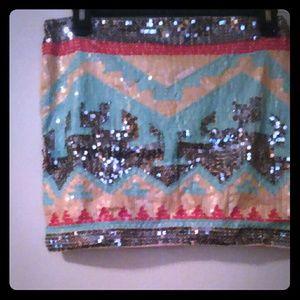 Dresses & Skirts - Sequence multi-color mini skirt