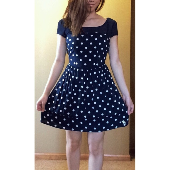 b16fdc5396 A F Navy Blue and White Polka Dot Dress