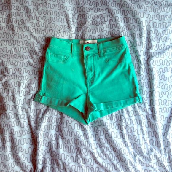 82% off Hollister Denim - Mint Green Hollister High Waisted Shorts ...