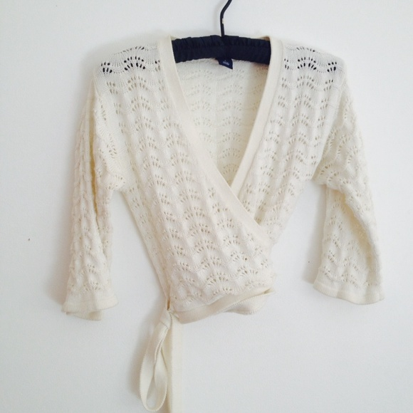 70% off GAP Sweaters - Gap ballet wrap-sweater crochet-weave ivory ...