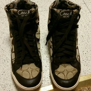 Coach high top sneakers, tan with cheetah print