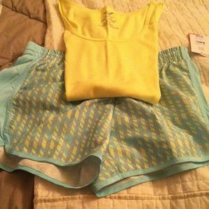 danskin now Other - Neon yellow tank & blue, yellow, green shorts